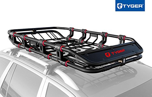 "Tyger Auto TG-RK1B906B X-Large/68"" x 41"" x 8"" Super Duty Roof Cargo Basket/Luggage Carrier Rack (with Removable Extension Kit Wind Fairing) image attachment (large)"