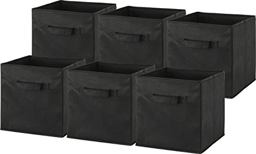6 Pack - SimpleHouseware Foldable Cube Storage Bin, Black