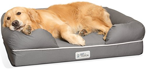 "PetFusion Large Dog Bed w/ Solid 4"" Memory Foam, Waterproof liner, YKK premium zippers. [Ultimate Lounge 36x28x9 - sized for Medium & Large Dogs]. Breathable cotton blend cover that is removable and easy to clean"