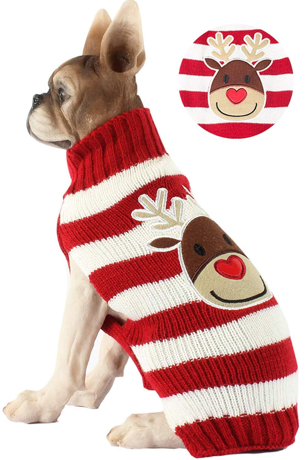 Huizhirem Koeutacue Classic Red Reindeer Christmas Dog Sweater for Puppy and Kitten Cats,Necessary Christmas pet Outfit,Dog Accessorries,Dog Apparel (Reindeer-L)